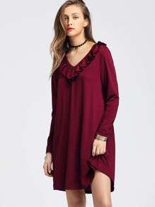 Frill Trim V Neckline Dress