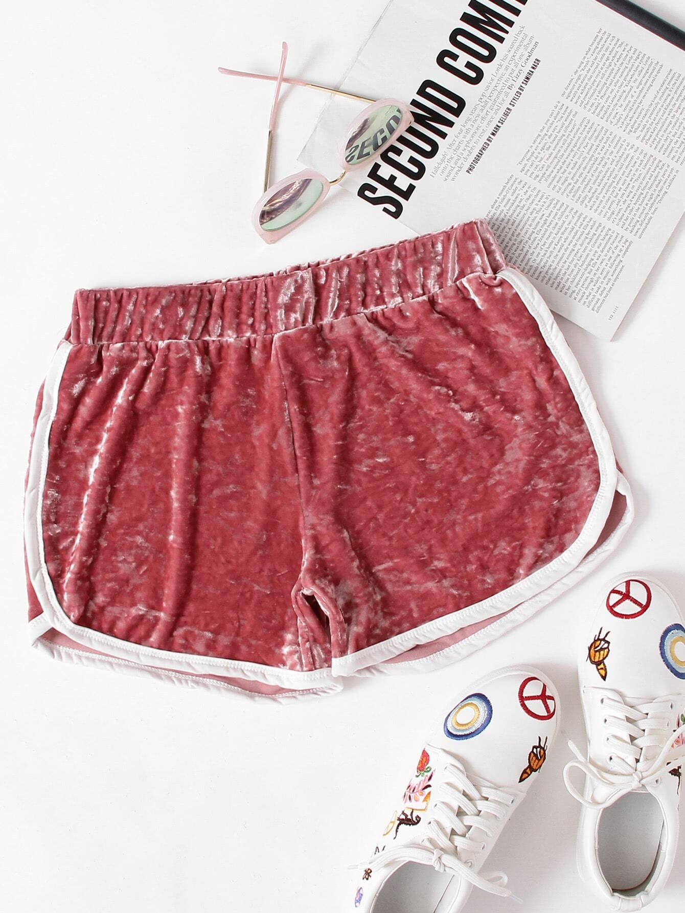 Velvet Contrast Trim Elastic Waist Shorts