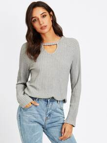 V Cut Neck Ribbed Knit Top