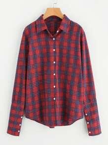 Buttoned Wide Cuff Checkered Shirt
