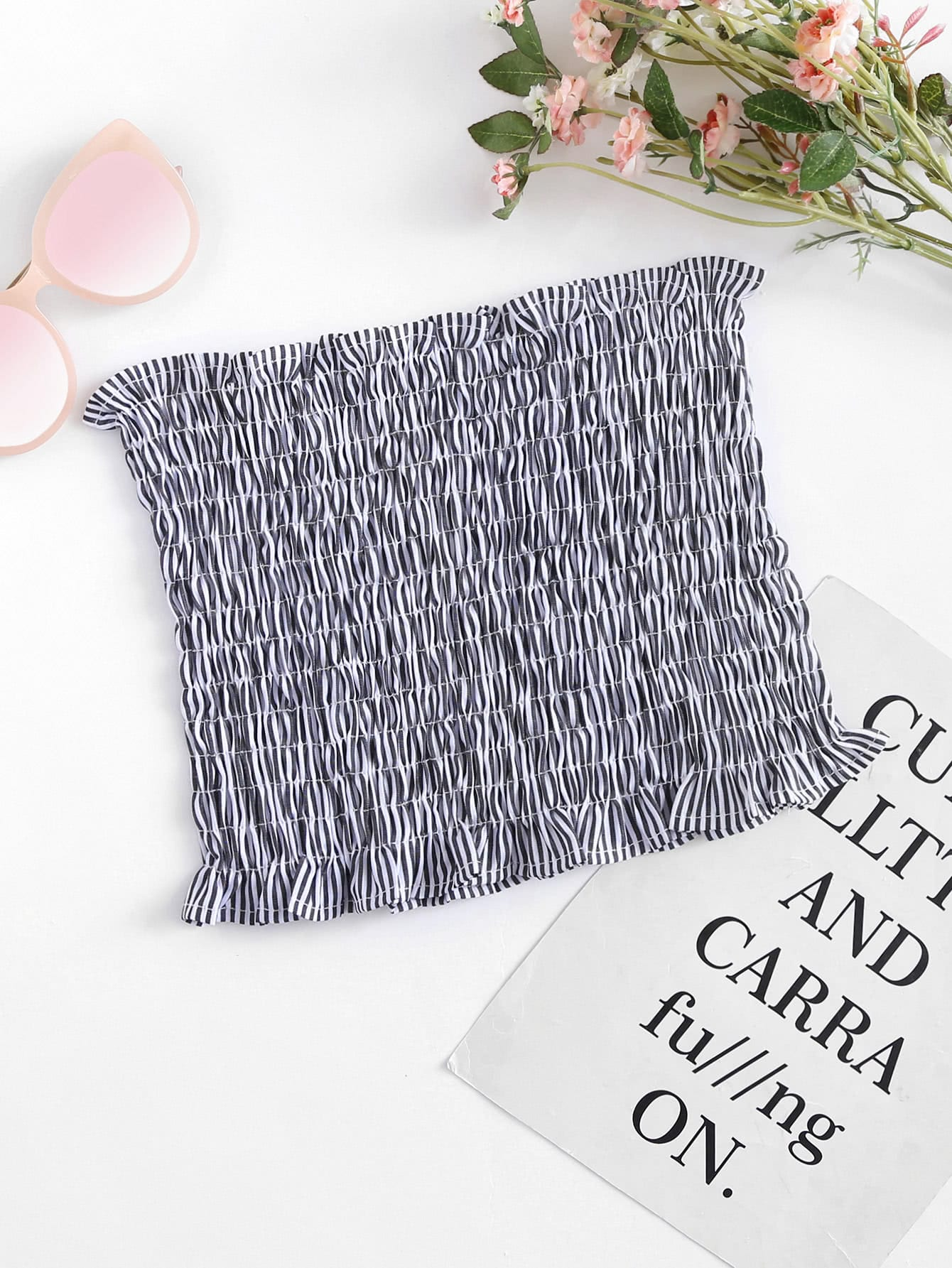 Striped Shirring Bandeau Top frilled trim striped bandeau top