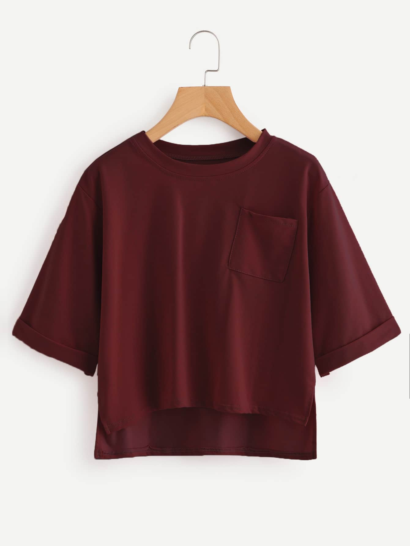 Roll Sleeve High Low Tee long sleeve high low lace insert tee