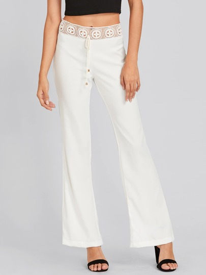Hollow Out Crochet Insert Flare Pants