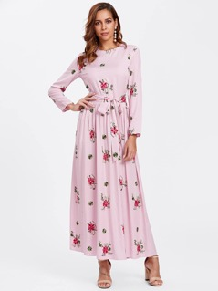 648b7c6e8e Self Belted Flower Embroidered Hijab Evening Dress | MakeMeChic.COM