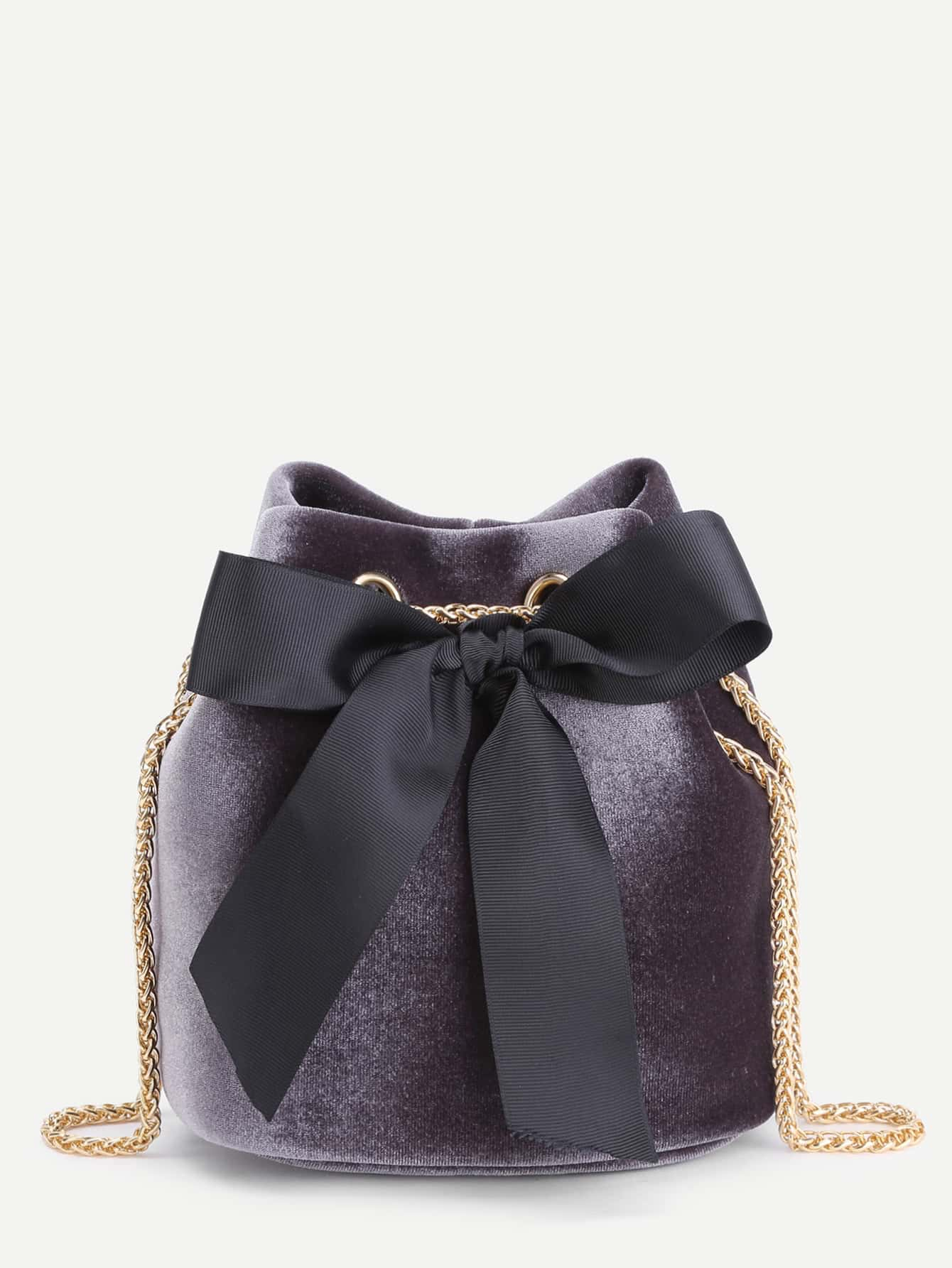 bow tie decorated velvet bucket bag emmacloth women fast fashion online. Black Bedroom Furniture Sets. Home Design Ideas