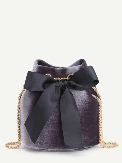 Bow Tie Decorated Velvet Bucket Bag