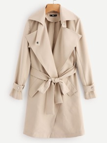 Belted Cuff And Waist Rain Shield Back Coat