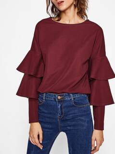 Layered Flounce Sleeve Tunic Top