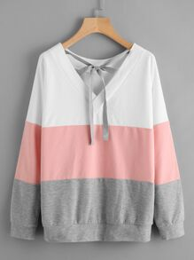 Cut And Sew Tied V Neck Pullover