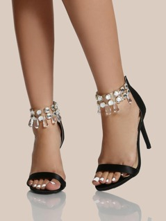 Diamond Ankle Strap Heels BLACK