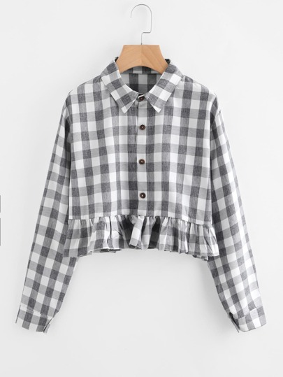 Ruffle Hem Checkered Crop Blouse