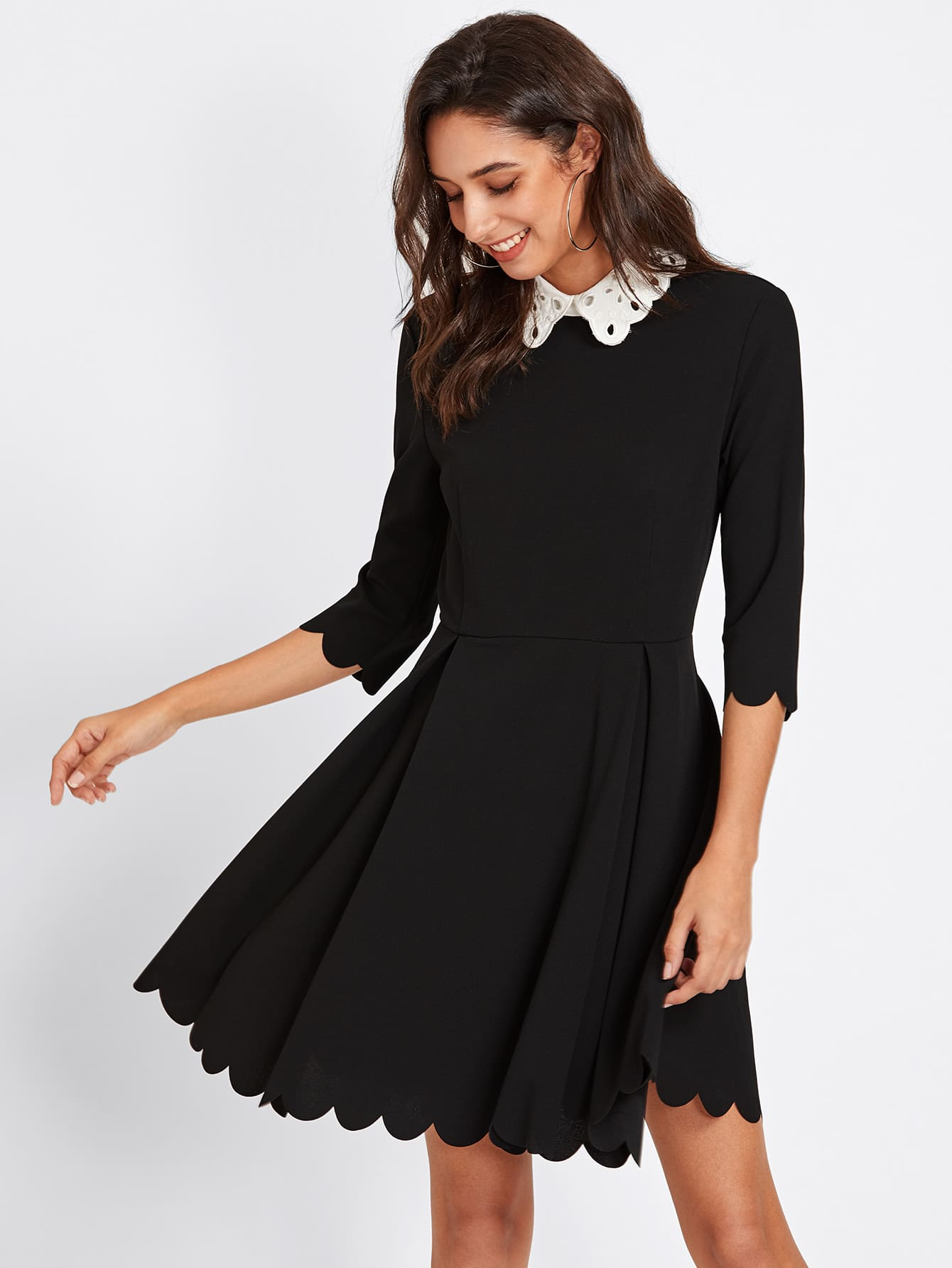 Contrast Eyelet Embroidered Collar Scalloped Dress eyelet embroidered self belted dress