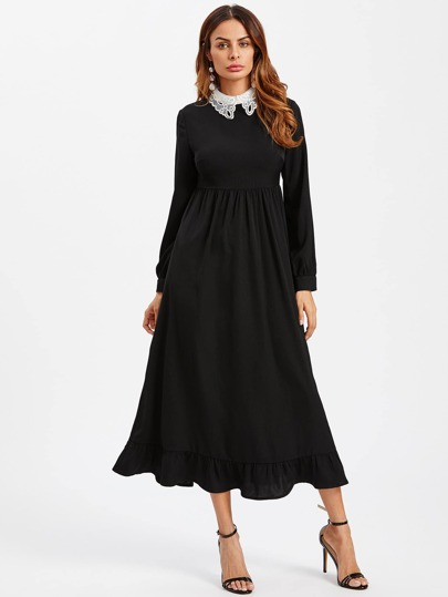 Contrast Eyelet Embroidered Collar Ruffle Hem Dress