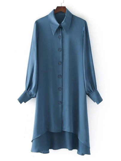 High Low Satin Shirt Dress