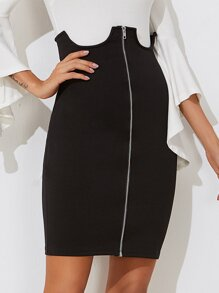 Zip Through U Cut Detail Skirt