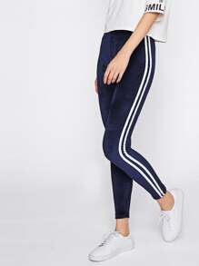 Side Striped Velvet Leggings