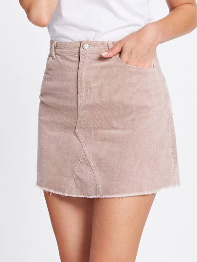 Corduroy Single Button Raw Hem Skirt