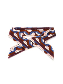 Geometric Print Velvet Skinny Scarf