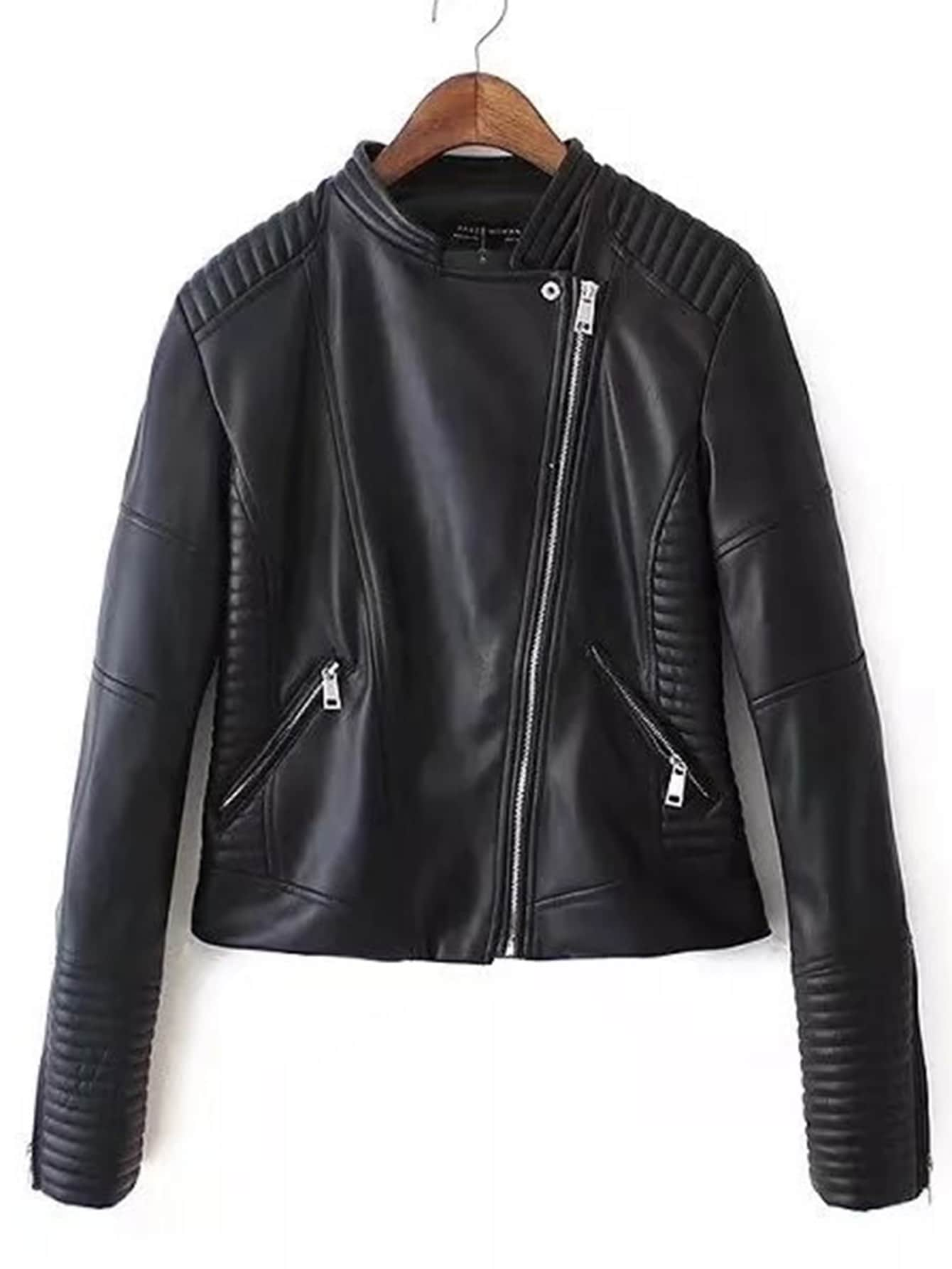 Quilted Detail PU Moto Jacket