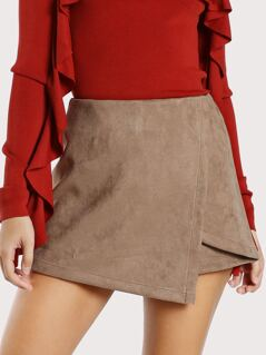 Stretch Suede Layered Shorts TAUPE