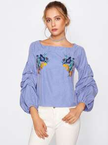 Puff Sleeve Flower Embroidery Gingham Top