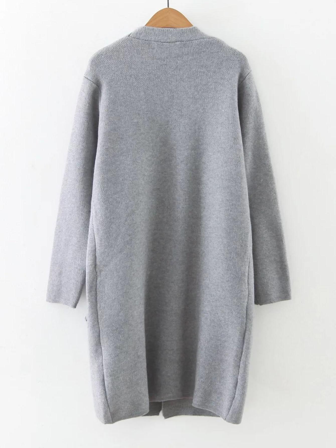 Faux Fur Embellished Pocket Long Line Cardigan -SheIn(Sheinside)