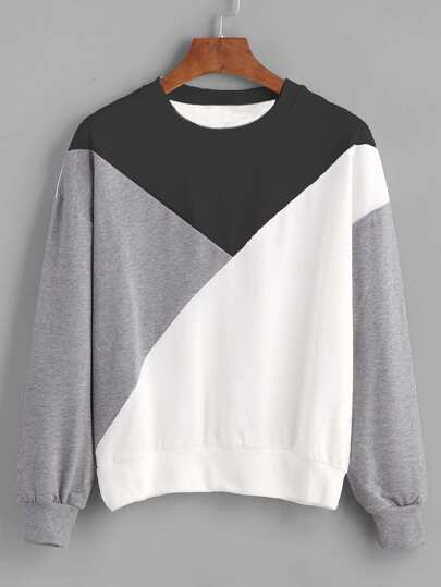 Cut And Sew Panel Drop Shoulder Sweatshirt