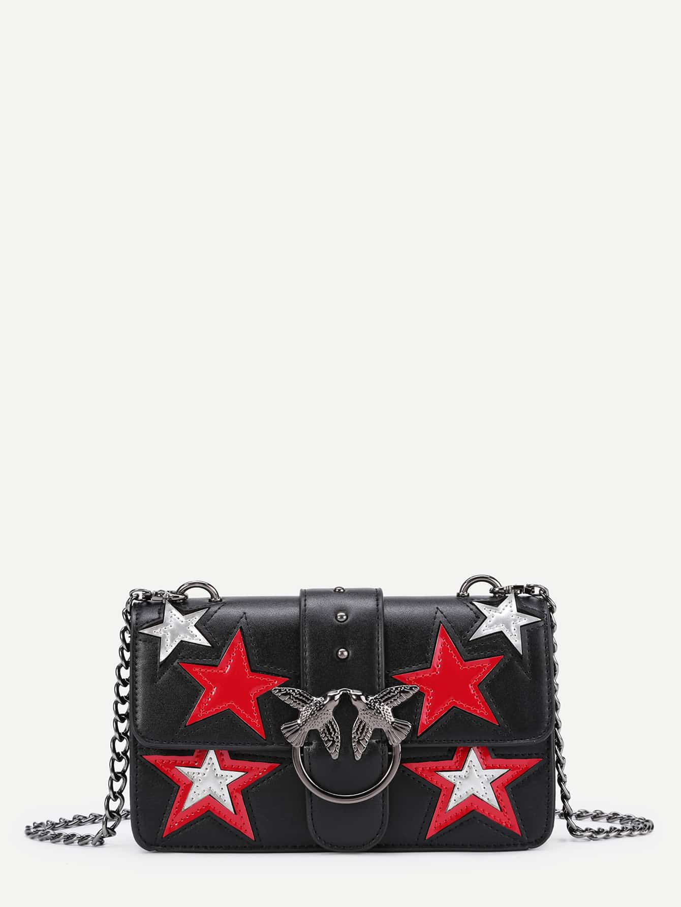 Bird Buckle Star Pattern PU Chain Bag