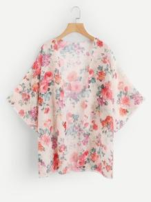 Kimono ouvert avant imprimé fleuri