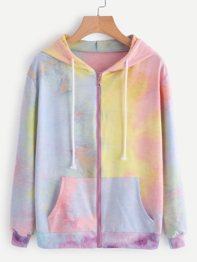 Water Color Drawstring Hooded Zip Up Jacket