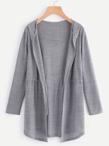 Drawstring Waist Hooded Marled Cardigan