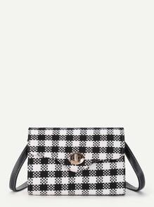 Check Plaid Flap Crossbody Bag