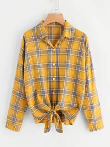 Tartan Plaid Drop Shoulder Knotted Hem Shirt
