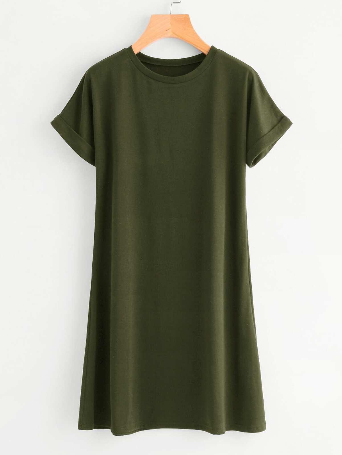 捲袖 基本 T卹 洋裝