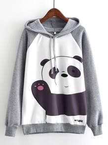 Panda Print Raglan Sleeve Marled Hoodie