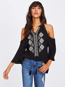 Aztec Print Open Shoulder Tassel Tie Top