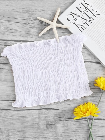 Frill Trim Shirring Bandeau Top