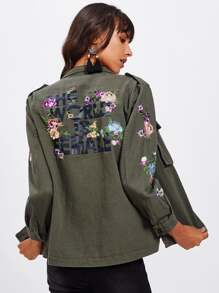 Botanical Embroidered Latter Print Jacket