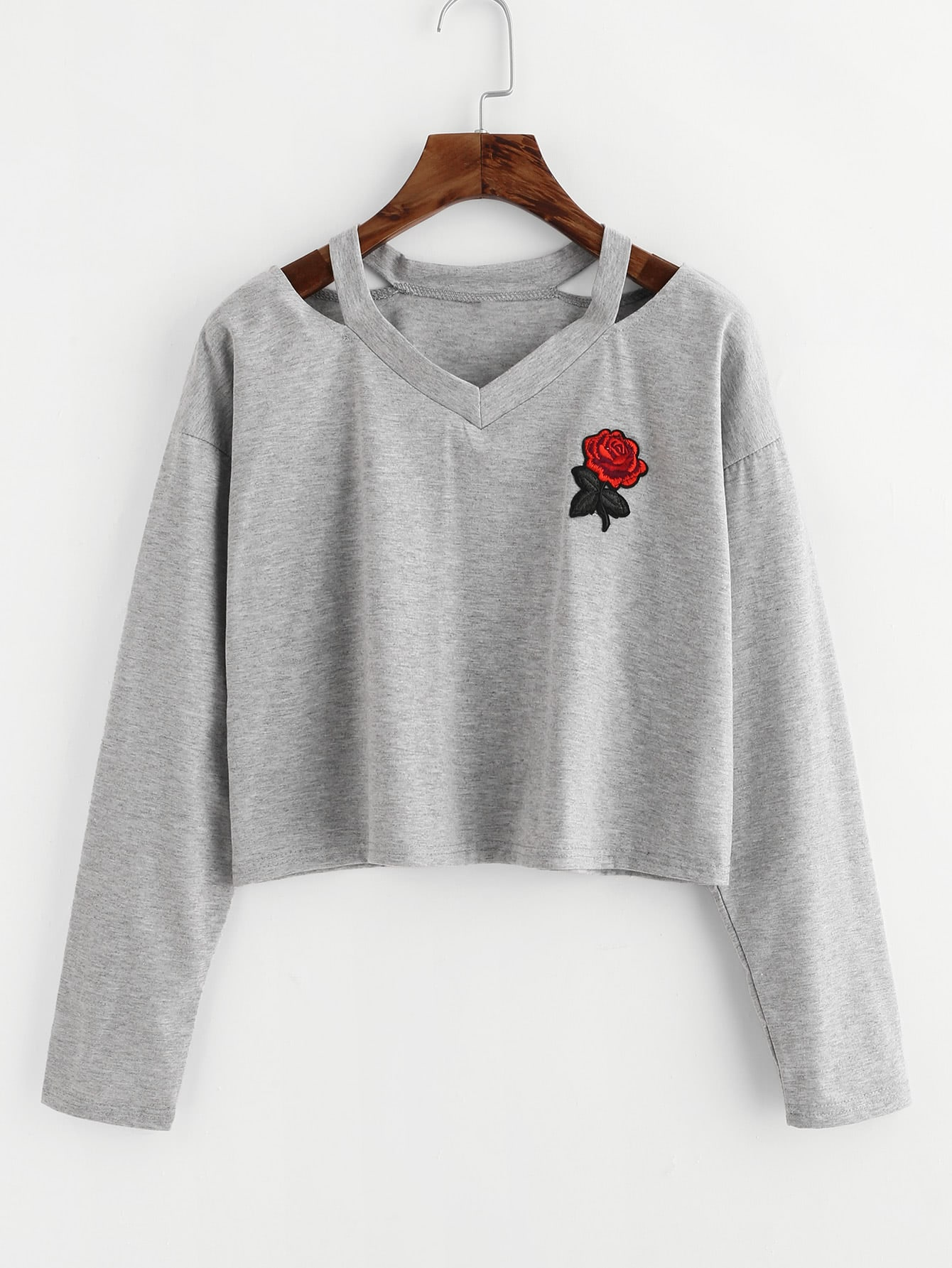Cut Out Neck Rose Patch Marled Tee cut out neck rose patch crop tee