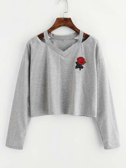 Cut Out Neck Rose Patch Marled Tee