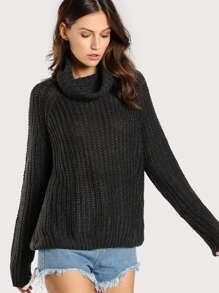 Turtleneck Ribbed Oversize Sweater CHARCOAL