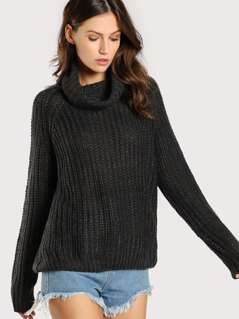 Turtleneck Ribbed Oversize Sweater CHARCOAL