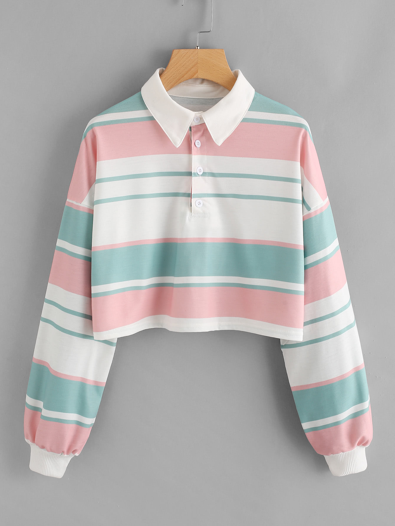 Drop Shoulder Striped Crop Pullover drop shoulder water color crop sweatshirt