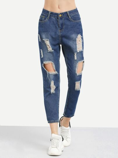 Ripped Loose Crop Jeans