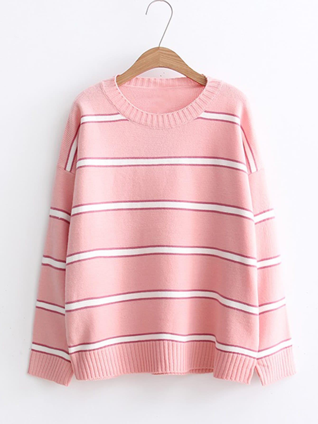 Ribbed Trim Striped Sweater