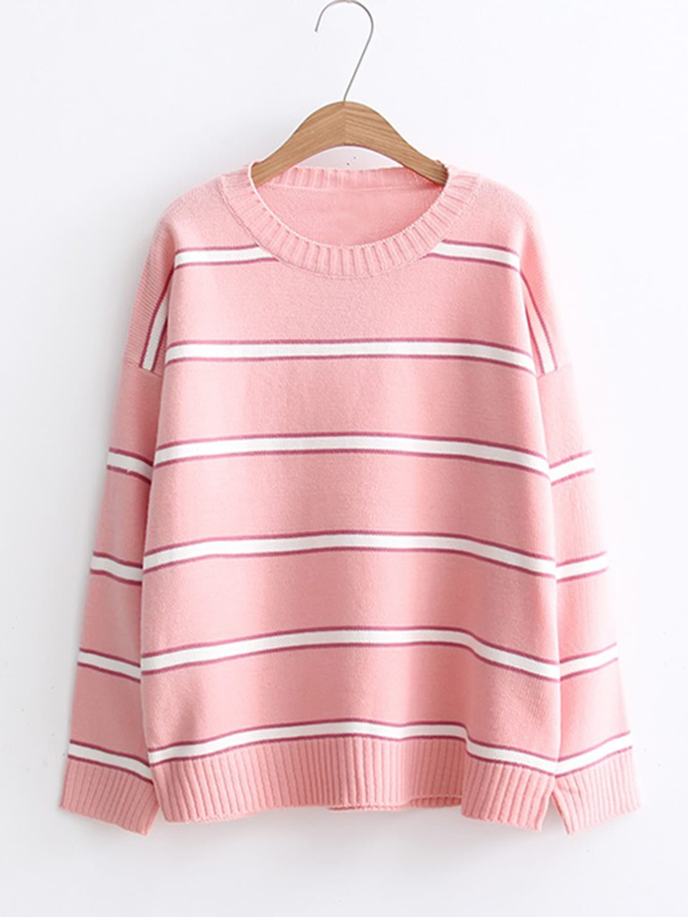 Ribbed Trim Striped Sweater