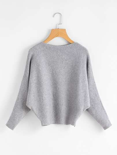 Dolman Sleeve Ribbed Jumper