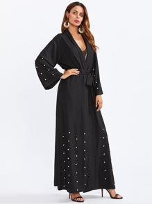Shawl Collar Pearl Embellished Self Belted Abaya