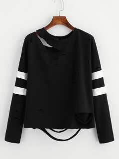 Striped Sleeve Distressed Sweatshirt
