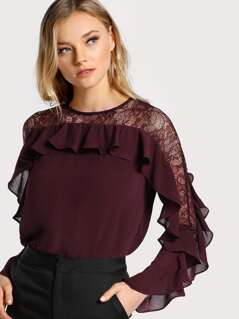Ruffle Sleeve Lace Cutout Top OX BLOOD